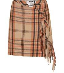msgm asymmetric fringed check skirt