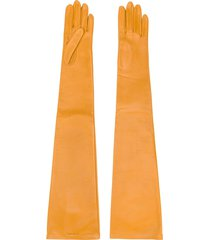 saint laurent logo-embossed long gloves - yellow