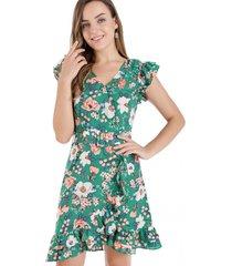 vestido floral cinturón verde nicopoly