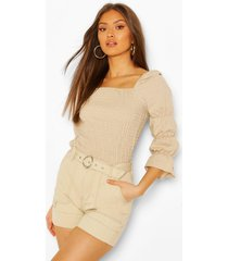 linen shirred ruched sleeve top, stone