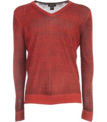avant toi v neck pullover with high edges in linen viscose