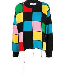 msgm patchwork-knit sweater - black