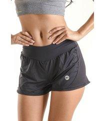 shorts mama latina duplo spinning preto - preto - feminino - poliamida - dafiti