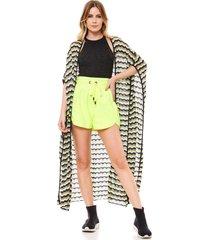 casaco tricot ralm saãda de praia listrado multicolorido - preto - feminino - dafiti
