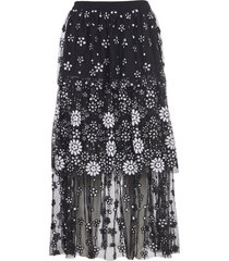self-portrait long skirt with embroidery