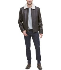 cole haan men's leather aviator jacket with faux sherpa collar