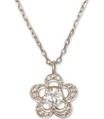 "kate spade new york crystal flower pendant necklace, 17"" + 3"" extender"