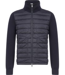 moncler quilted nylon and wool-blend knit cardigan