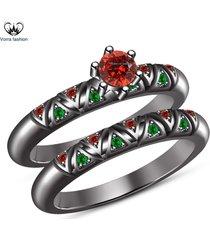 10k black gold finish 925 sterling silver red garnet engagement bridal ring set
