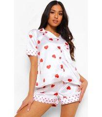 petite hartjes pyjama set met shorts, white