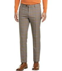 paisley & gray slim fit suit separates pants tan & blue plaid