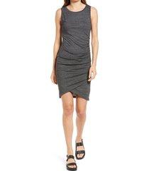 women's treasure & bond ruched sleeveless jersey dress, size xx-small - grey