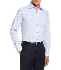 men's big & tall david donahue slim fit check dress shirt, size 17.5 - 36/37 - blue