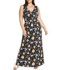 plus size women's loveappella floral halter neck maxi dress, size 3x - blue