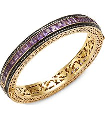 18k yellow gold, black rhodium-plated sterling silver, amethyst & diamond bangle bracelet