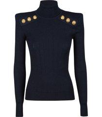 balmain button embellished turtleneck knit sweater