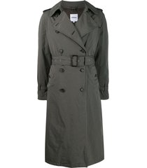aspesi distressed finish trench coat - green