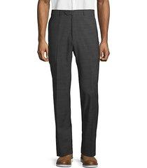 classic wool blend flat-front pants