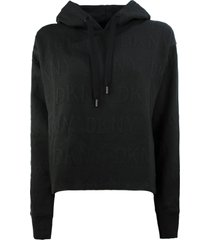 dkny black cotton blend hoodie
