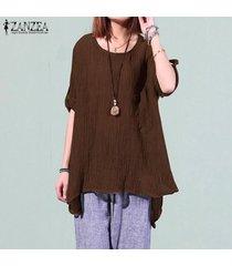 zanzea mujeres del invierno del otoño de manga larga suéter superior camiseta túnica de la blusa -marrón