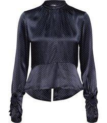 heavy satin blouse blouse lange mouwen blauw ganni