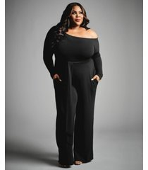 nina parker trendy plus size off-the-shoulder jumpsuit, created for macy's
