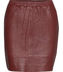 leather skirt w. elastic in waist kort kjol röd coster copenhagen
