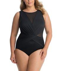 plus size women's miraclesuit illusionists palma one-piece swimsuit, size 20w - black