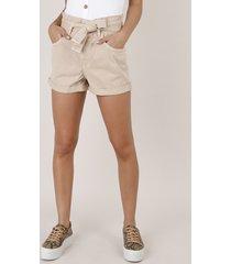 short de sarja feminino clochard com faixa barra dobrada bege