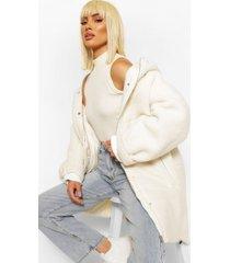 oversized gewatteerde faux fur teddy parka, crème