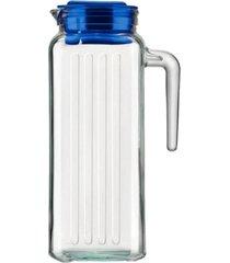 jarra de vidro para suco sture móveis com tampa azul 1,2 litros