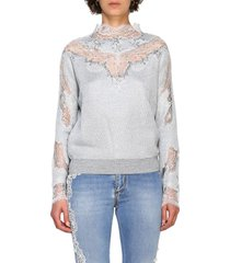 ermanno scervino sweater ermanno scervino sweater with long sleeves and lace inserts
