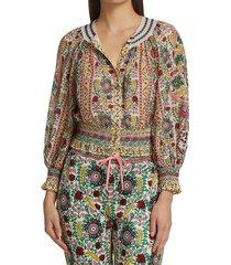 alice + olivia women's cherelle smocked-waist floral print blouse - flower multi - size s