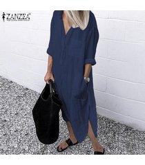 zanzea mujeres de primavera y verano de manga larga vestido de gran tamaño de vacaciones abaya kaftan más el tamaño -azul marino