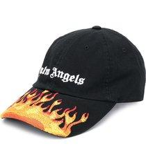 palm angels flame-print baseball cap - black