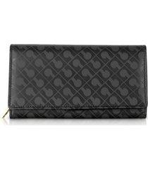 gherardini designer wallets, signature black leather & fabric flap wallet