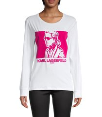 karl lagerfeld paris women's graphic stretch-cotton tee - white pink - size s