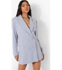tall oversized getailleerde blazer jurk, dusty blue