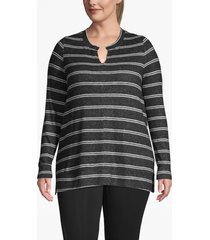 lane bryant women's active striped tunic top 22/24 black and white