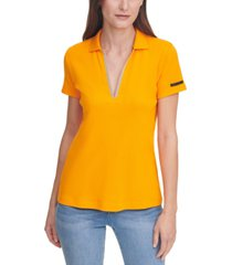 dkny jeans beaded v-neck polo top