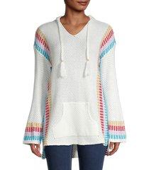 stellah women's honeycomb drawstring hoodie - white - size m