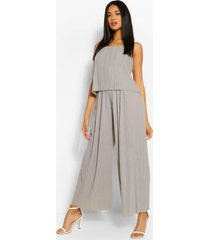 plisse strappy jumpsuit, grey