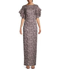 theia women's shimmer column gown - dusty rose - size 2