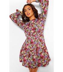 bloemenprint skater jurk met pofmouwen en geplooide middel, berry
