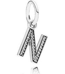 charm de prata pendente brilhante letra n
