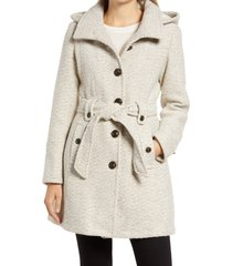 women's gallery belted tweed coat with hood, size large - beige