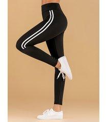 leggings de cintura alta a rayas con parche negro