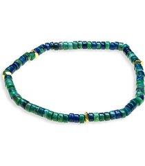 jean claude men's goldtone & multicolor bead stretch bracelet