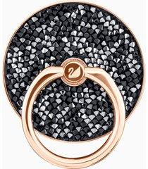 anello adesivo glam rock, nero, placcatura mista