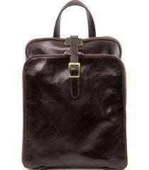 tuscany leather tl141239 taipei - zaino in pelle con tre scomparti testa di moro